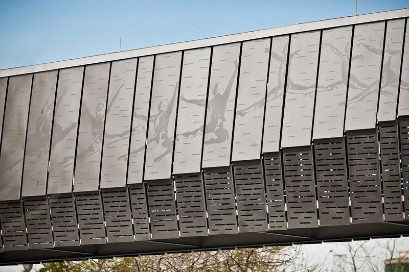Etched Metal Panels : Eco etch brings houston s ballet bridge to life forms