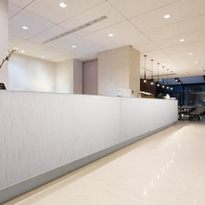 Reception desk shown in ViviSpectra Elements glass in Reflect configuration with