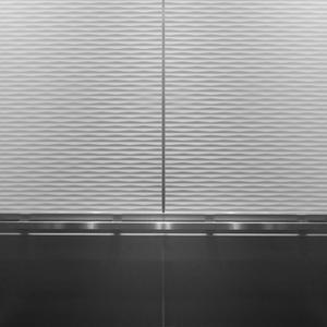 LEVELe-106 Elevator Interior with main panels in Bonded Quartz, White