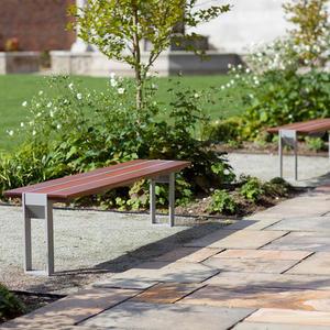 Apex Benches, standalone, Aluminum Texture, FSC 100% Jatoba hardwood slats