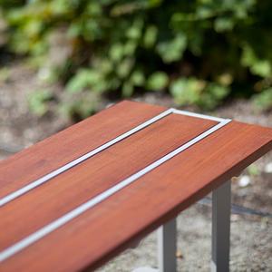 Apex Bench, Aluminum Texture, FSC 100% Jatoba hardwood slats