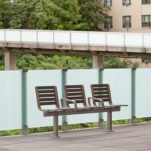 Tangent Rail Seating, 3 backed seats, surface mount, armrests, aluminum slats