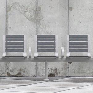 Tangent Rail Seating, 5 backed seats, surface mount, armrests, aluminum slats