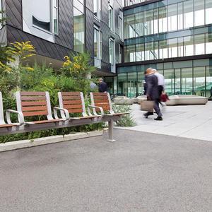 Tangent Rail Seating, 4 backed seats, surface mount, armrests, FSC 100% Ipé