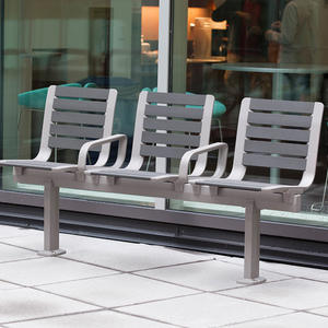 Tangent Rail Seating, 3 backed seats, surface mount, armrests, aluminum slats