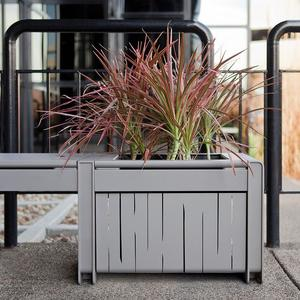 Vector Seating System planter with stainless steel side panels in Rainfall perfo