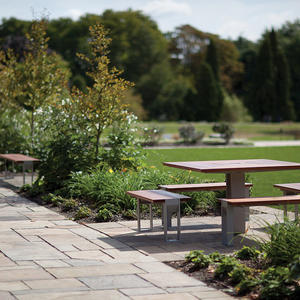 Apex Table Ensemble, four benches, Aluminum Texture, FSC 100% Jatoba