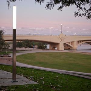 Rincon Pedestrian Lighting shown with body and top cap in Stainless Steel with S