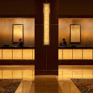 Registration desk and column accents in backlit ViviStone Honey Onyx