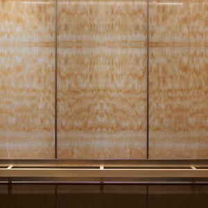 LEVELe-105 Elevator Interior with upper panels in ViviStone Honey Onyx