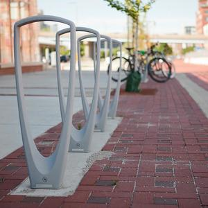 Trio Bike Racks shown with Silver Texture powdercoat