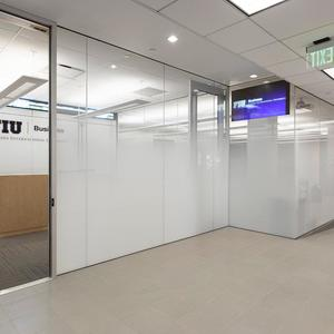 Partition wall in ViviGraphix Gradiance glass with Scatter interlayer and Standa