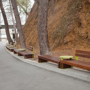 Custom Hudson Benches with powdercoated tables and frames, and FSC 100% Ipé