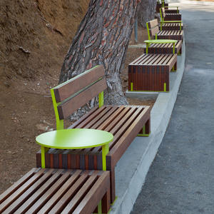 Custom Hudson Benches with powdercoated tables and frames and FSC 100% Ipé hardw