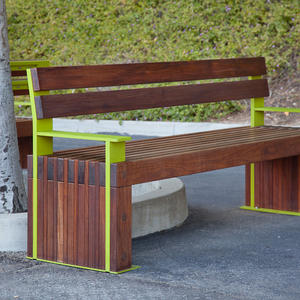 Custom Hudson Bench with powdercoated frame and FSC 100% Ipé hardwood slats at H