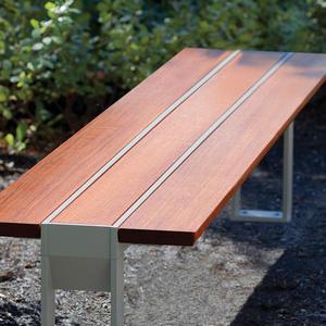 Apex Bench, standalone, Aluminum Texture, FSC 100% Jatoba hardwood slats