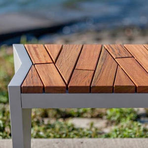 Boardwalk Bench with Atlantic City Boardwalk FSC Recycled reclaimed Cumaru