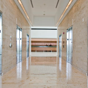Stainless Steel Elevator Doors w Stainless Steel, Mirror finish, custom Eco-Etch