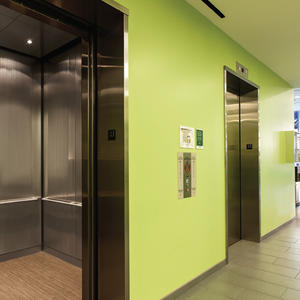 LEVELc-1000A Elevator Interior: panels in Stainless Steel, Marquisette finish