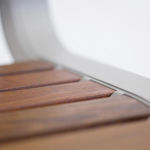 Tangent Rail Seating: backed seat detail with Aluminum Texture powdercoated