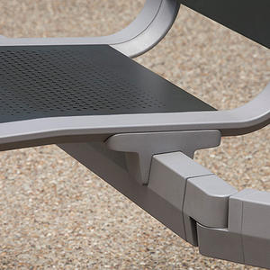Detail of Tangent Rail Seating articulation point shown with Argento Texture