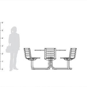 Tangent Table Ensemble, six backed slat seats, shown to scale.