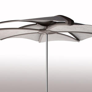 Soleris Sunshade shown with aluminum panels with Cloud perforation pattern