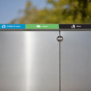 Transit Litter & Recycling Receptacle shown with Sandstone Stainless Steel body