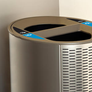 Orbit Litter & Recycling Receptacle shown in split-stream configuration