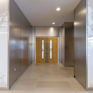 LEVELe Wall System with Blind panels; insets in ViviSpectra Spectrum glass