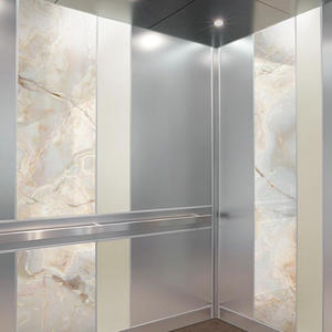 ViviStone Opal Onyx glass with Standard finish shown in a LEVELe-101 Elevator