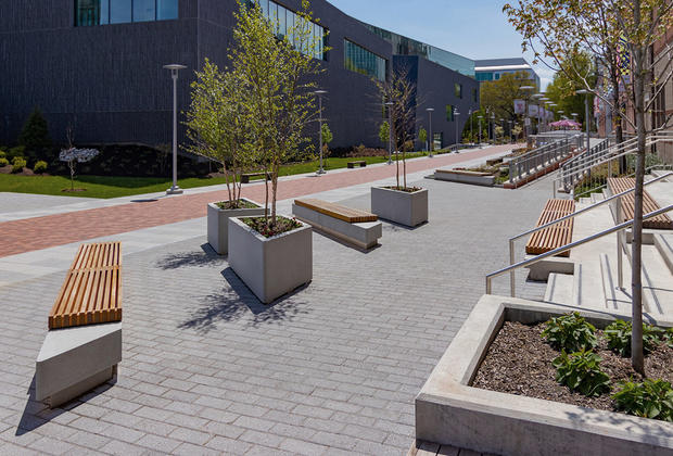 Hudson Benches shown with FSC® 100% Ipé hardwood slats and custom mounting