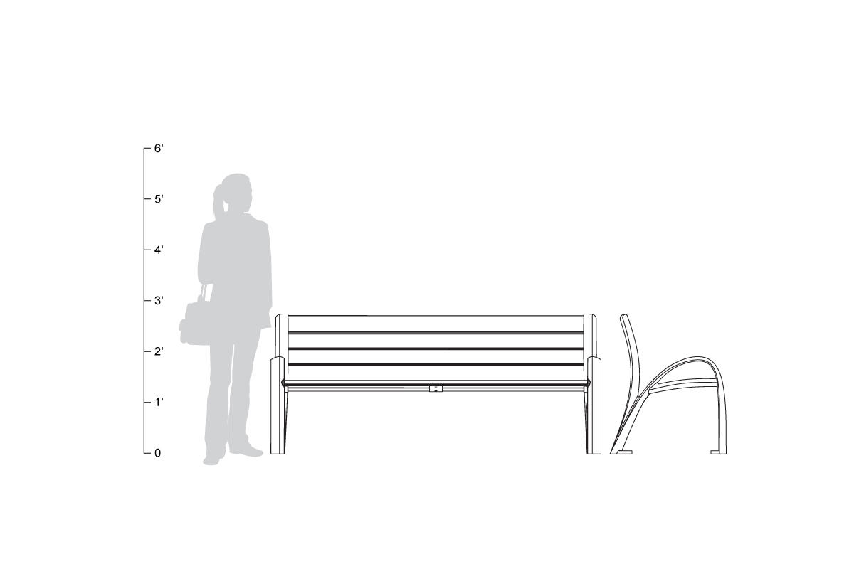Camber Bench, 6 foot, shown to scale