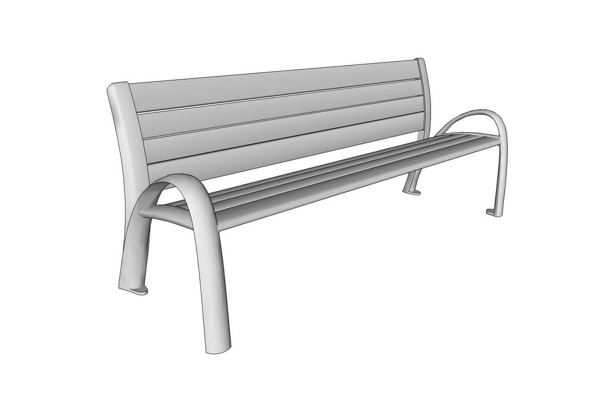 Camber Bench, 6 foot, extruded aluminum slats