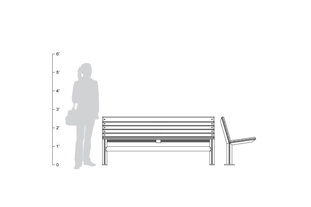 Knight Bench, backed, 6 foot, shown to scale