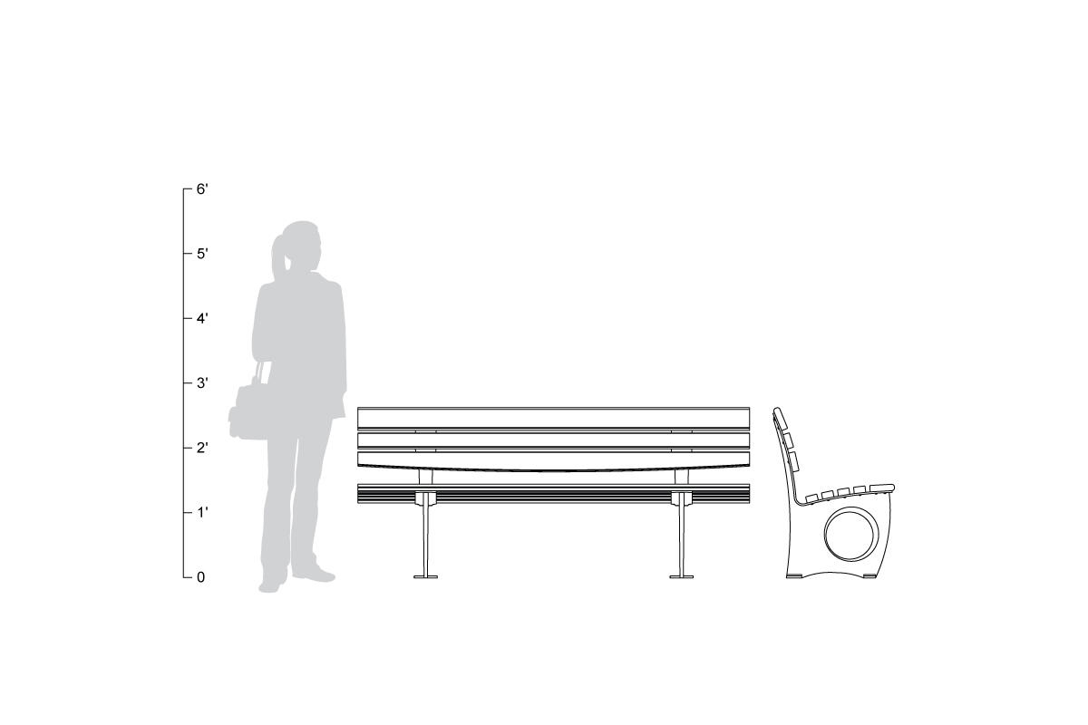 Leda Bench, backed, 6 foot, shown to scale