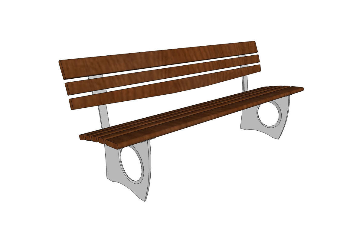 Leda Bench, backed, 6 foot