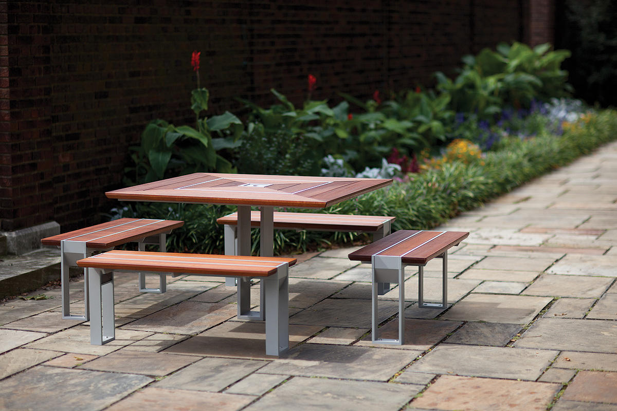 Apex Table Ensemble, four benches, Aluminum Texture, FSC 100% Jatoba