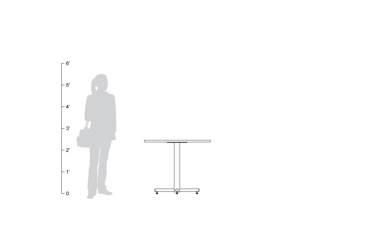 Cross Table, shown to scale