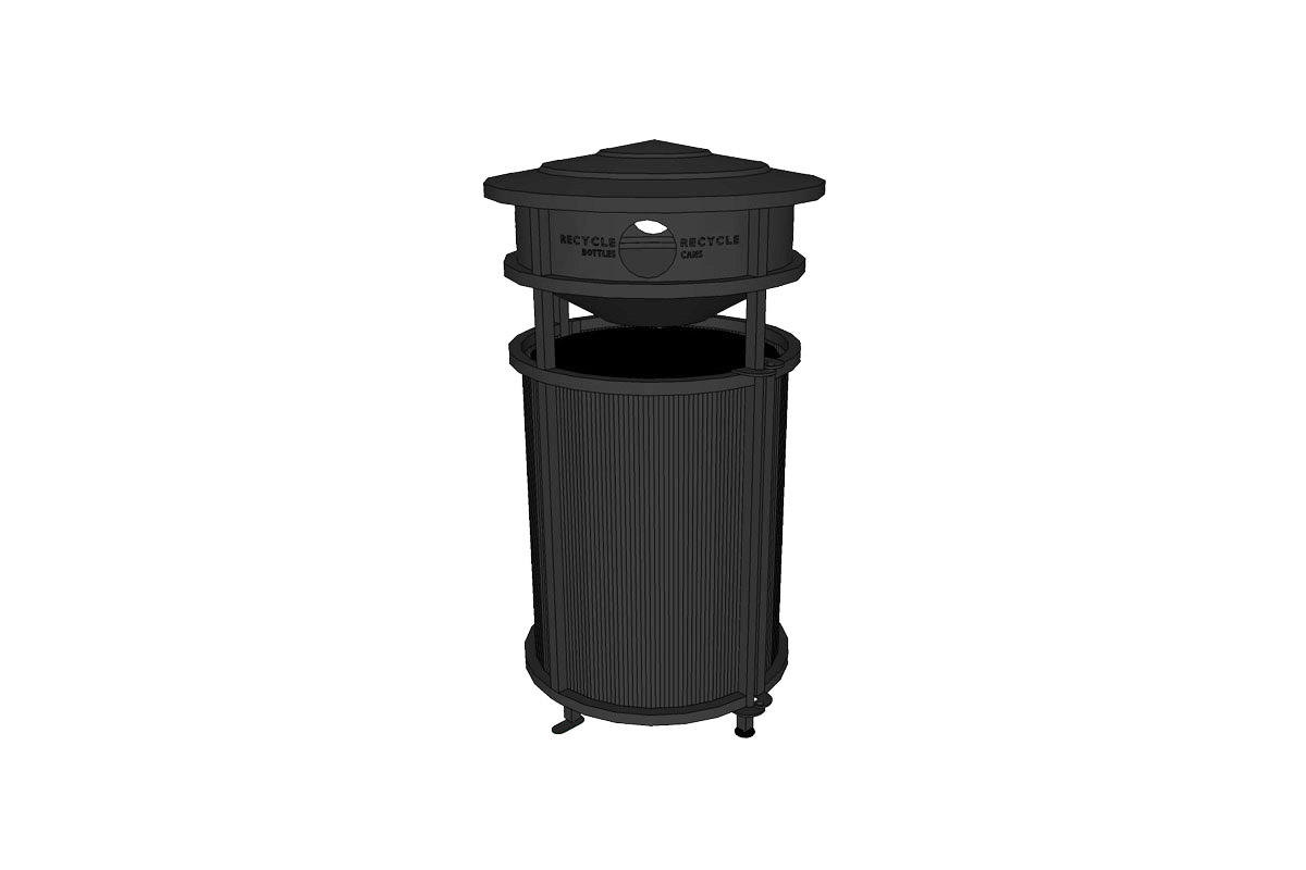 Urban Renaissance, 36 gallon, side opening, integrated recycle bin, Dallas