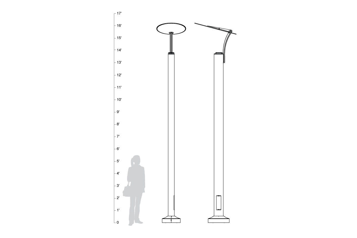 3Rivers Pedestrian Lighting, shown to scale.