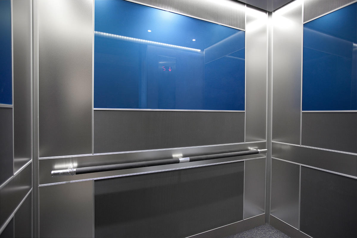 LEVELe-102 Elevator Interior with main panels in Bonded Aluminum