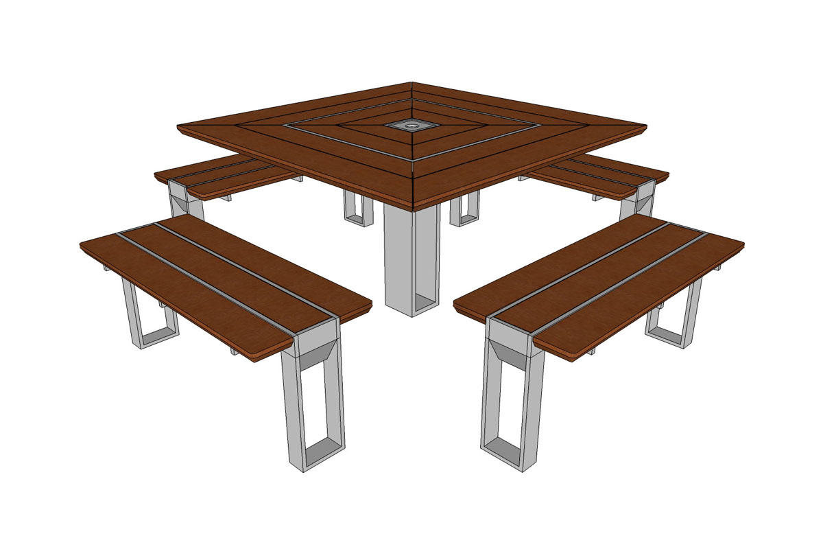 Apex Table Ensemble, four benches