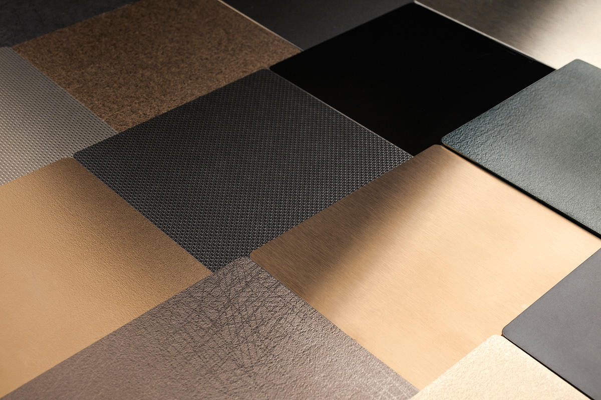 Fused Metal finishes: Sandstone, Linen, Mirror, Satin, Diamond