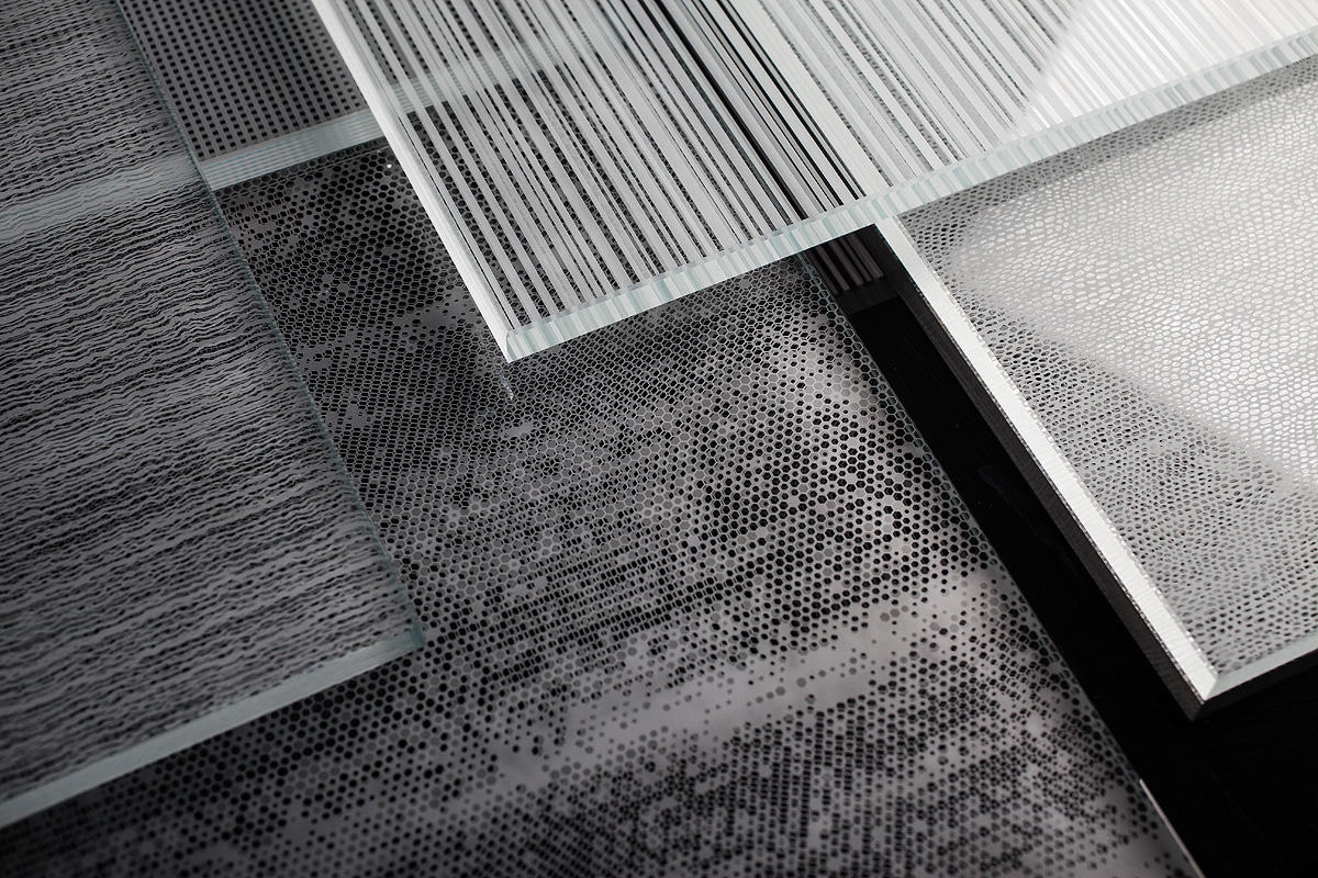 ViviStrata Monolithic glass with patterns: Ripple, Hive, Stripes and Glint