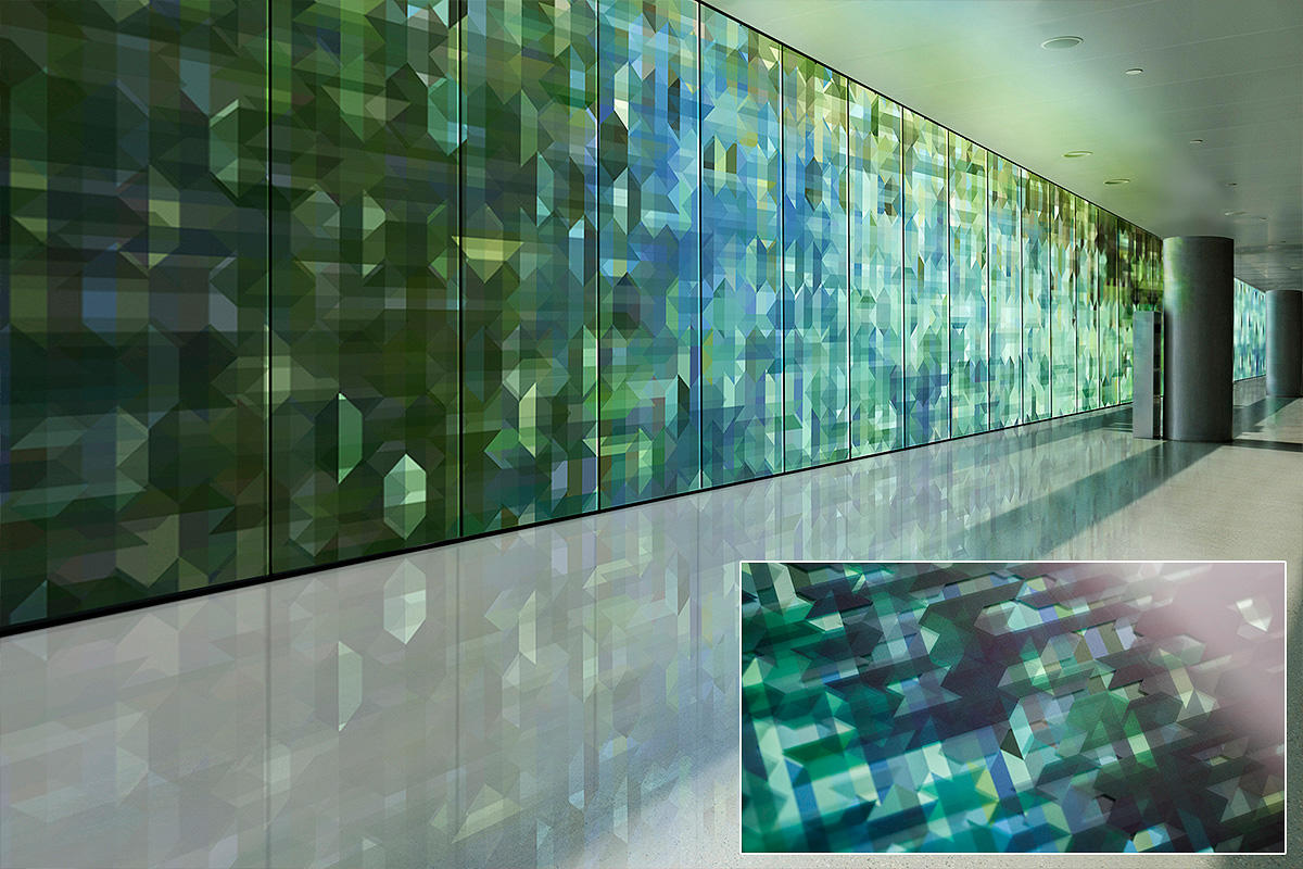 LEVELe Wall Cladding System with Blind panels; insets in ViviSpectra VEKTR