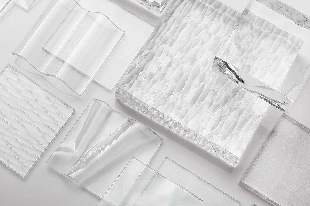 BermanGlass Resin textures: Corrugated, Tanami, Nuv'eau, Arrigado