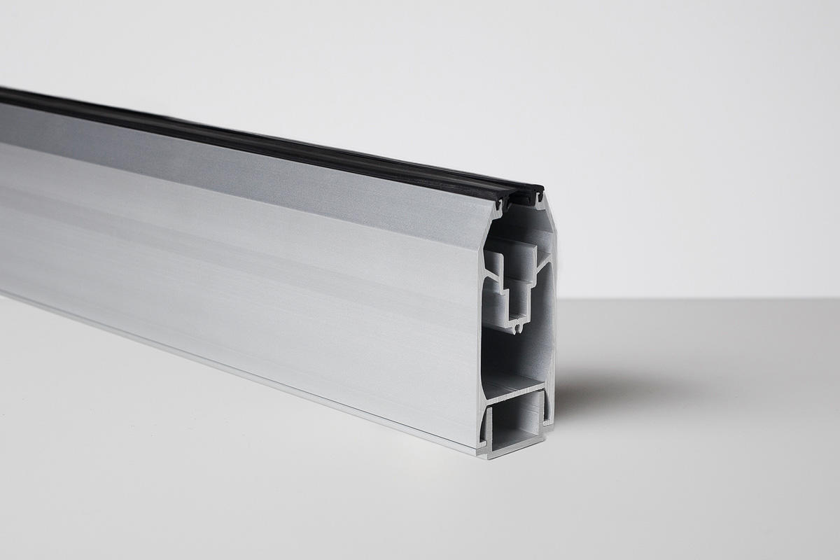 Tapered Rail System, Bottom Rail shown in Anodized Aluminum (US28)