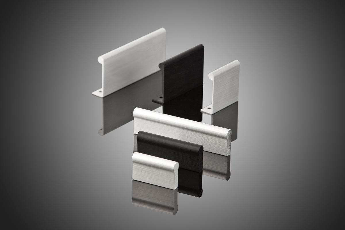 mesa series hc400 cabinet pulls shown clockwise from top left hc423 hc421 hc420 hc433 hc431 hc430 in satin clear aluminum 123 and matte black