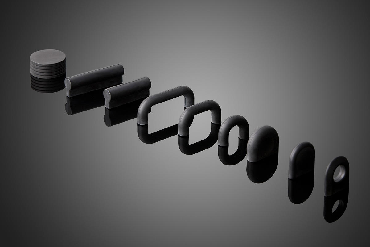 Neoprene Series HC200 cabinet pulls shown left to right: HC241, HC225, HC224